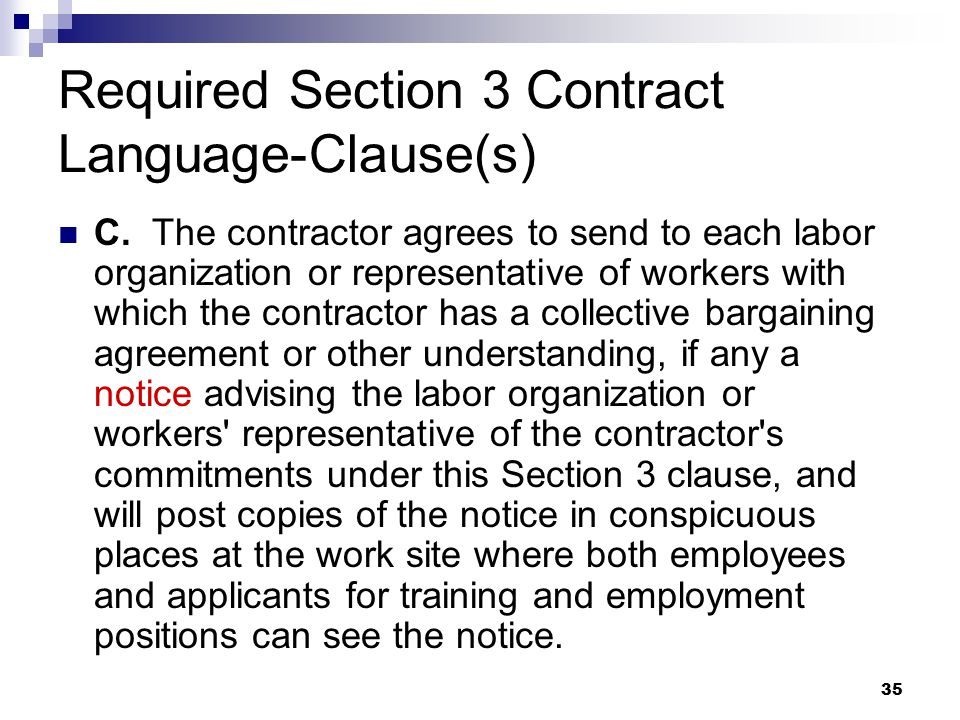 35 Required Section 3 Contract Language-Clause(s) C.