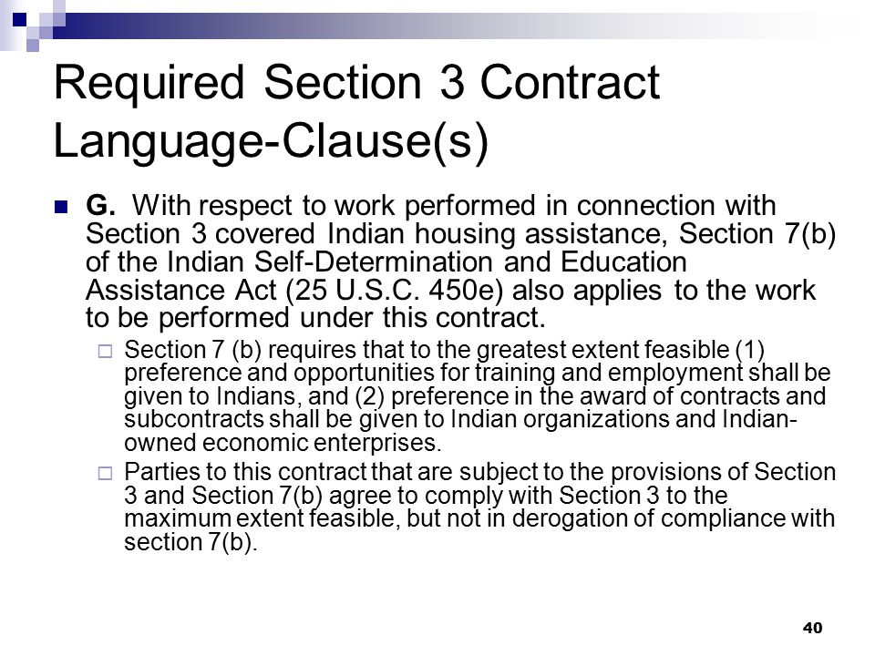 40 Required Section 3 Contract Language-Clause(s) G.