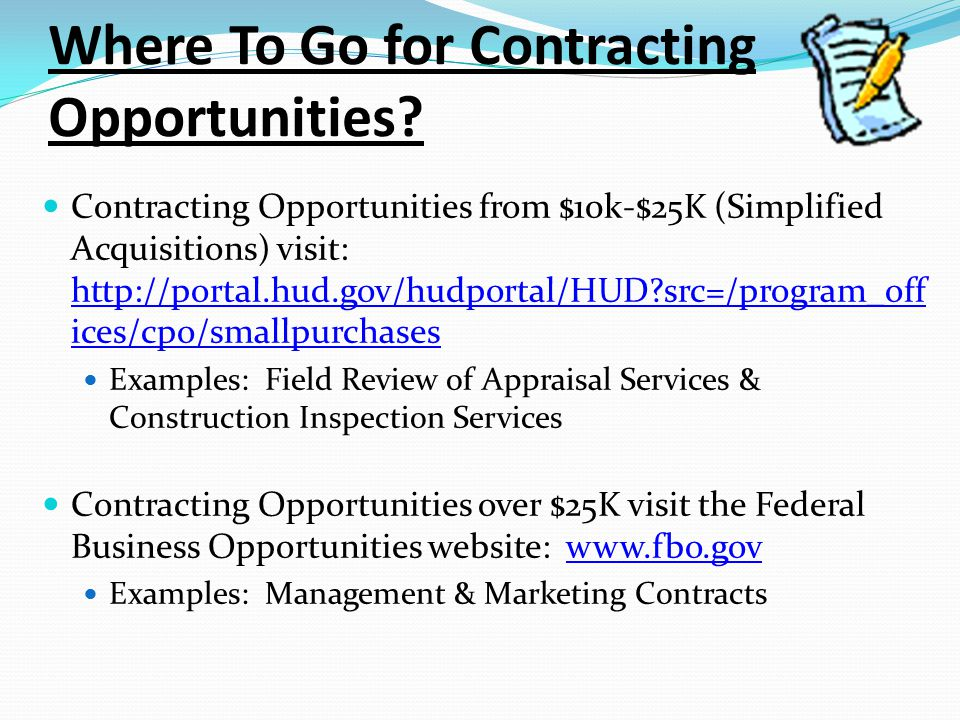 Where To Go for Contracting Opportunities.