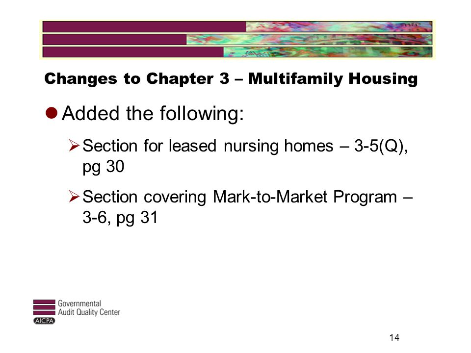 14 Changes to Chapter 3 – Multifamily Housing Added the following:  Section for leased nursing homes – 3-5(Q), pg 30  Section covering Mark-to-Market Program – 3-6, pg 31