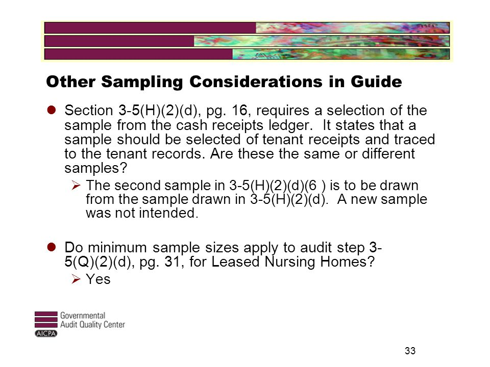 33 Other Sampling Considerations in Guide Section 3-5(H)(2)(d), pg.