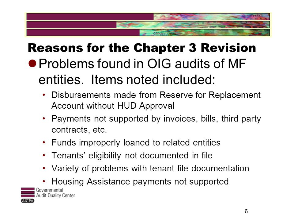 6 Reasons for the Chapter 3 Revision Problems found in OIG audits of MF entities.