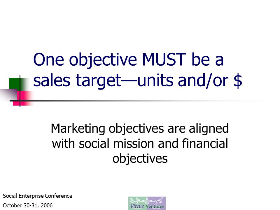 Social Enterprise Conference October 30-31, 2006 One objective MUST be a sales target—units and/or $ Marketing objectives are aligned with social mission and financial objectives