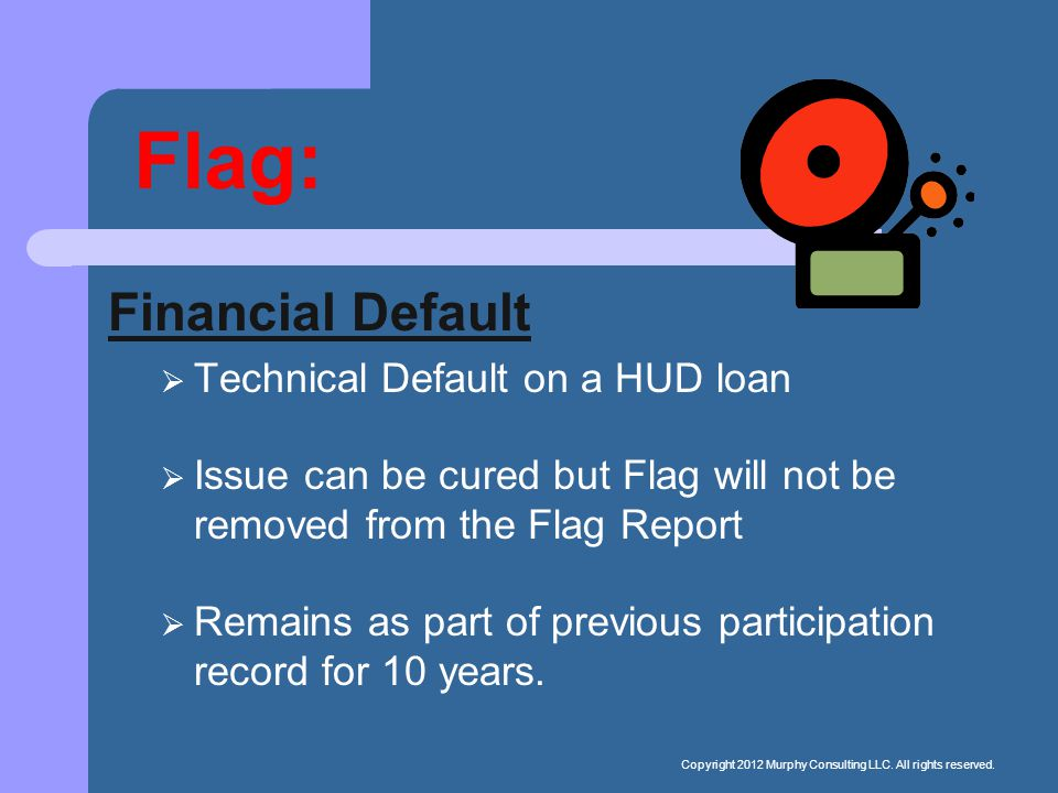 Flag: Financial Default  Technical Default on a HUD loan  Issue can be cured but Flag will not be removed from the Flag Report  Remains as part of previous participation record for 10 years.