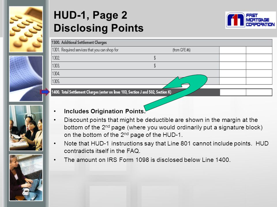 HUD-1, Page 2 Disclosing Points Includes Origination Points.