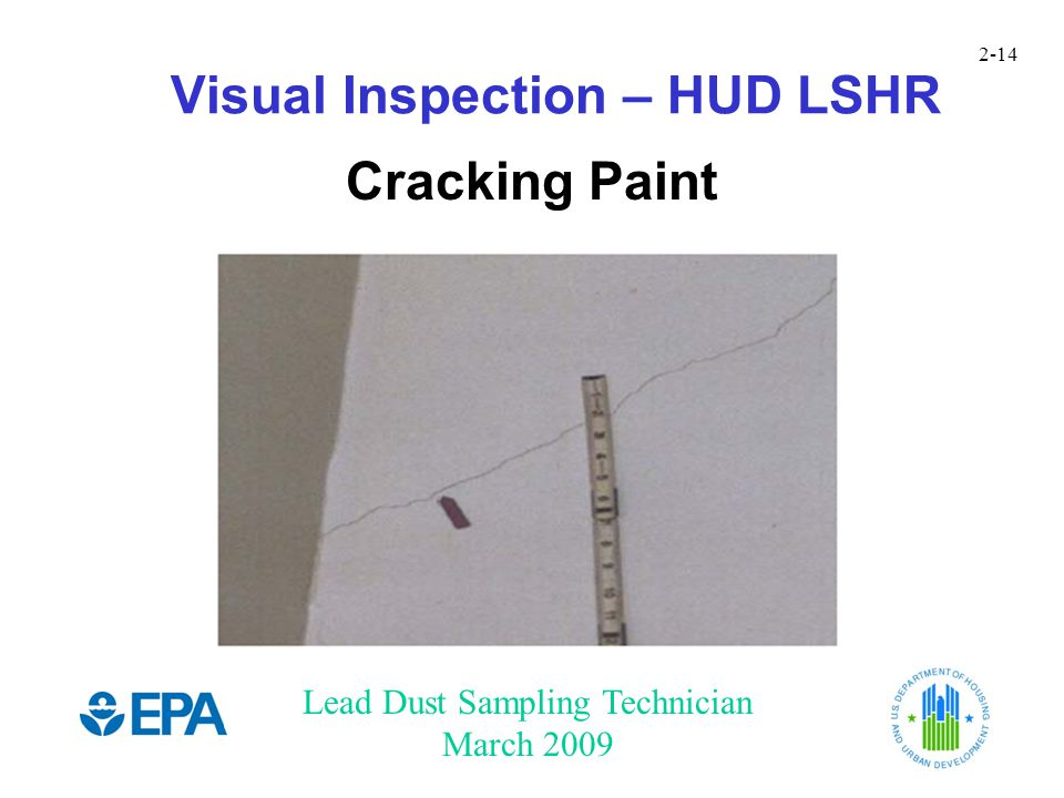 Lead Dust Sampling Technician March 2009 2-14 Visual Inspection – HUD LSHR Cracking Paint