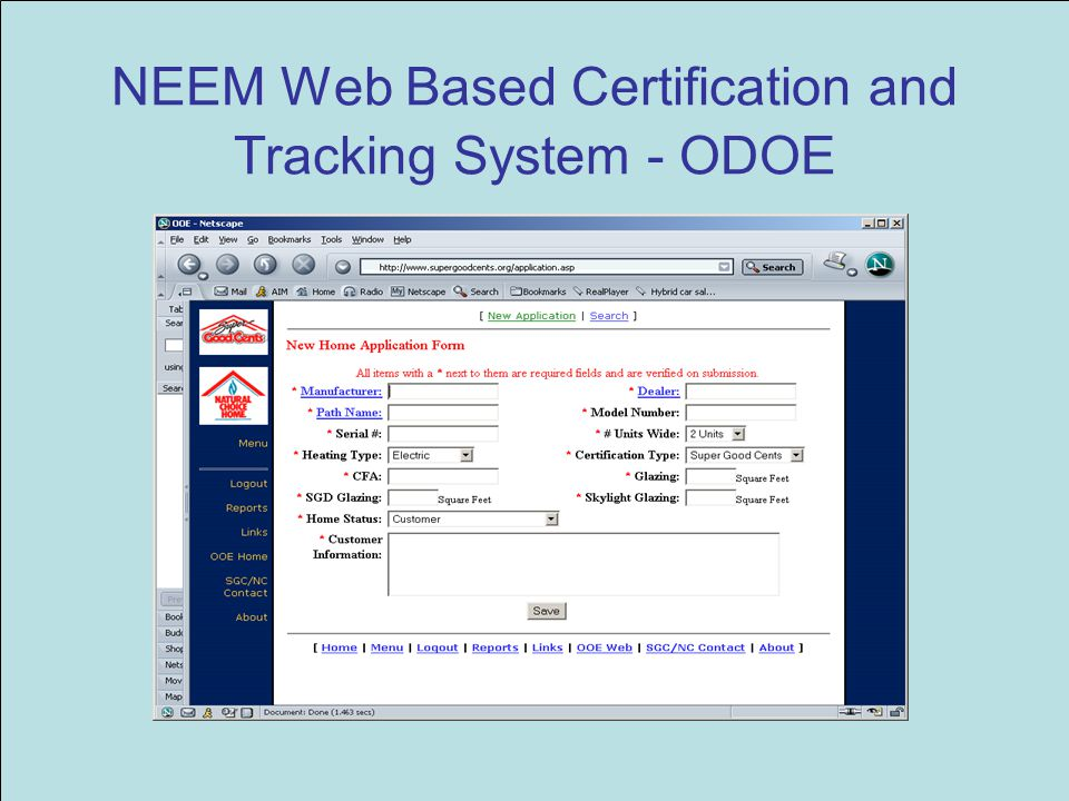 NEEM Web Based Certification and Tracking System - ODOE