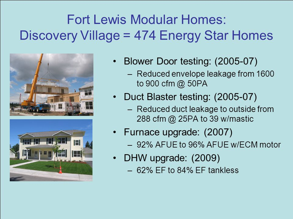 Fort Lewis Modular Homes: Discovery Village = 474 Energy Star Homes Blower Door testing: (2005-07) –Reduced envelope leakage from 1600 to 900 cfm @ 50