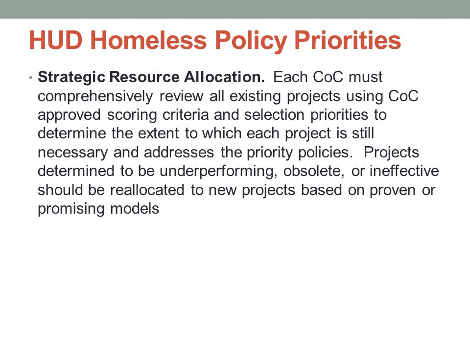 HUD Homeless Policy Priorities Strategic Resource Allocation.