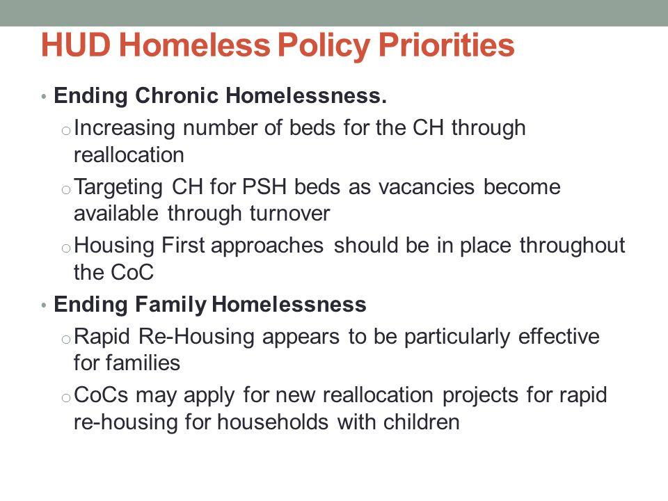 HUD Homeless Policy Priorities Ending Chronic Homelessness.
