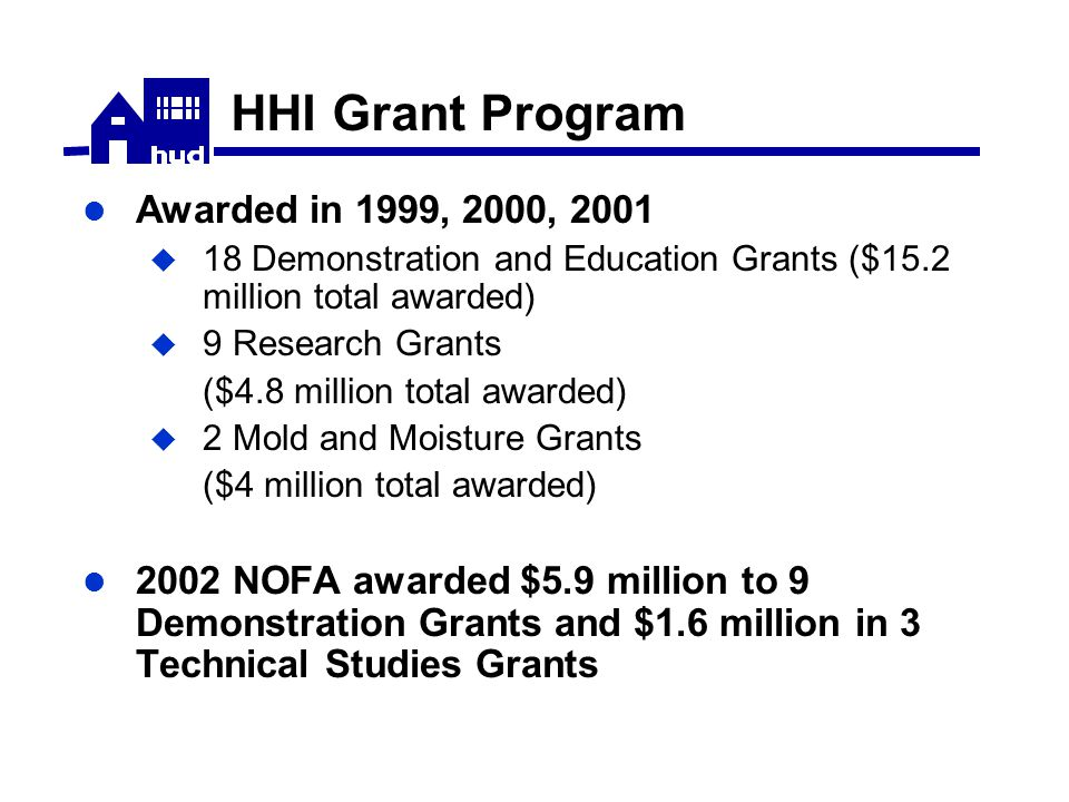 HHI Grant Program Awarded in 1999, 2000, 2001  18 Demonstration and Education Grants ($15.2 million total awarded)  9 Research Grants ($4.8 million total awarded)  2 Mold and Moisture Grants ($4 million total awarded) 2002 NOFA awarded $5.9 million to 9 Demonstration Grants and $1.6 million in 3 Technical Studies Grants