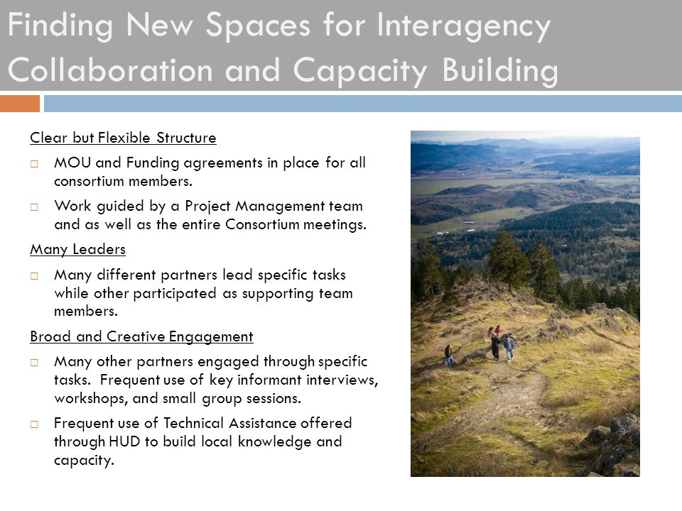 Finding New Spaces for Interagency Collaboration and Capacity Building Clear but Flexible Structure  MOU and Funding agreements in place for all cons