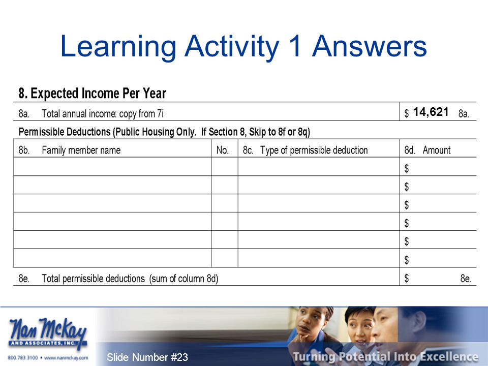 Slide Number #23 Learning Activity 1 Answers 14,621