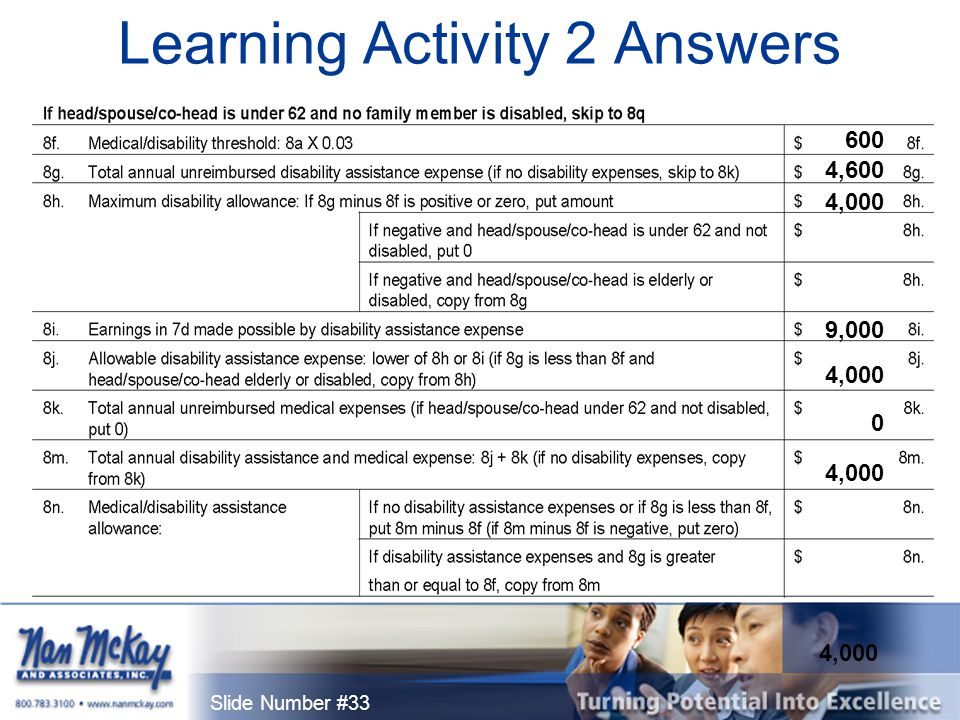 Slide Number #33 Learning Activity 2 Answers 600 9,000 0 4,000 4,600 4,000