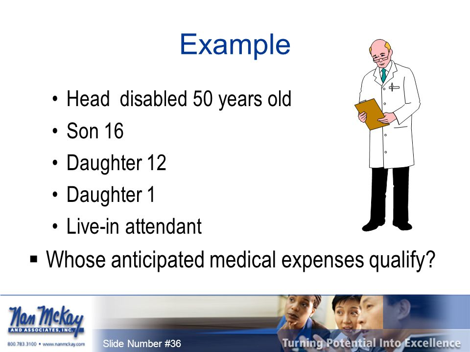 Slide Number #36 Example Head disabled 50 years old Son 16 Daughter 12 Daughter 1 Live-in attendant  Whose anticipated medical expenses qualify