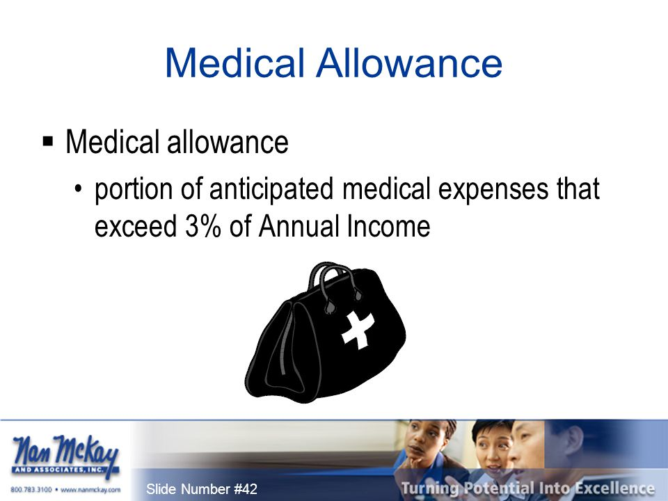 Slide Number #42 Medical Allowance  Medical allowance portion of anticipated medical expenses that exceed 3% of Annual Income