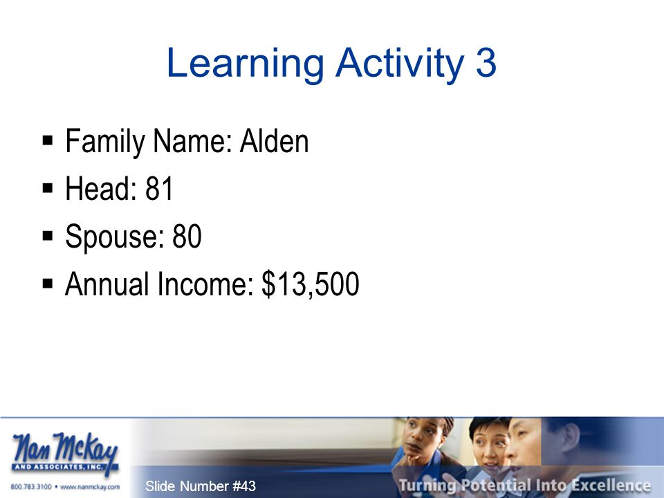 Slide Number #43 Learning Activity 3  Family Name: Alden  Head: 81  Spouse: 80  Annual Income: $13,500