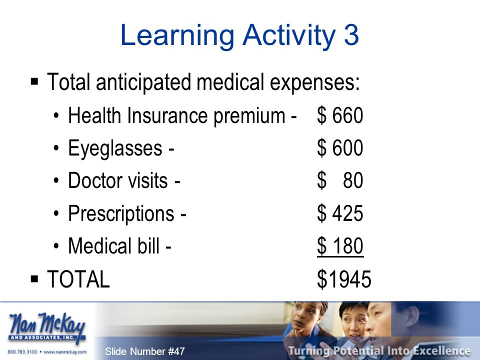 Slide Number #47 Learning Activity 3  Total anticipated medical expenses: Health Insurance premium - $ 660 Eyeglasses - $ 600 Doctor visits - $ 80 Prescriptions - $ 425 Medical bill - $ 180  TOTAL$1945
