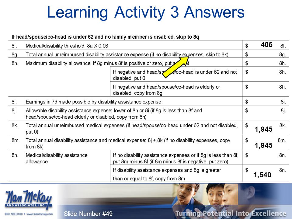 Slide Number #49 Learning Activity 3 Answers 405 1,945 1,540 1,945