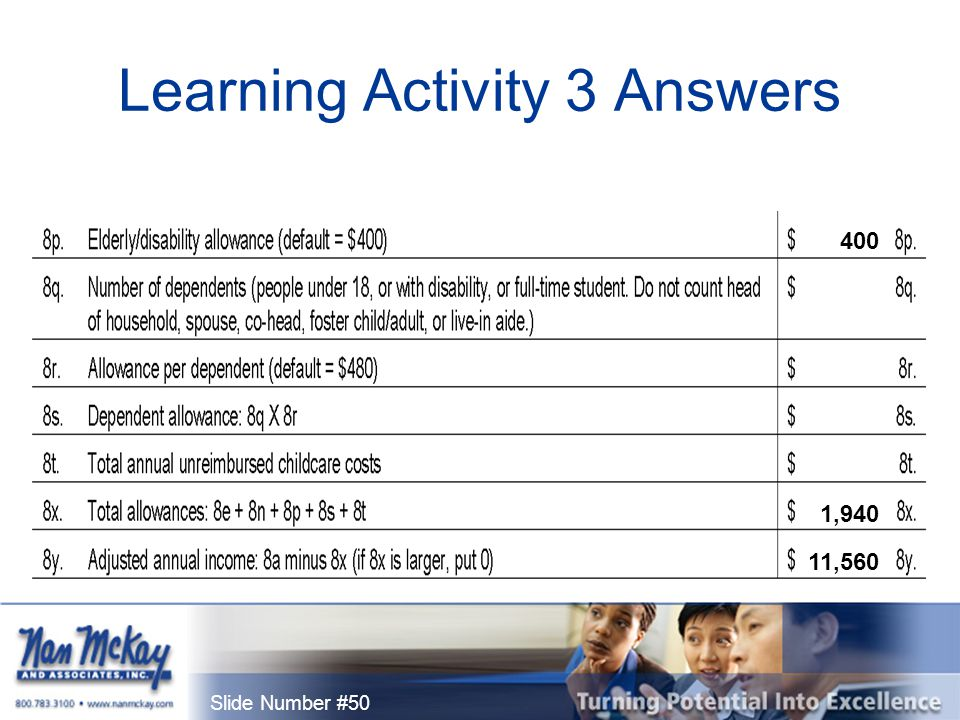 Slide Number #50 Learning Activity 3 Answers 400 11,560 1,940