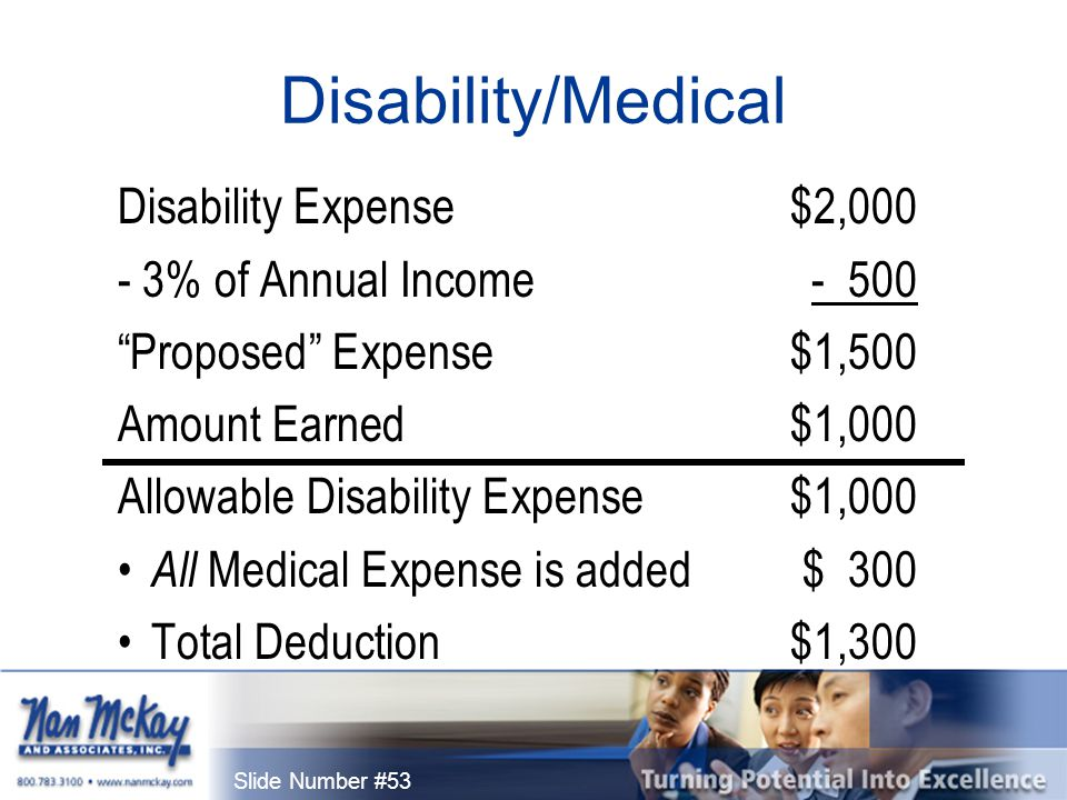 Slide Number #53 Disability/Medical Disability Expense$2,000 - 3% of Annual Income- 500 Proposed Expense$1,500 Amount Earned$1,000 Allowable Disability Expense $1,000 All Medical Expense is added$ 300 Total Deduction$1,300