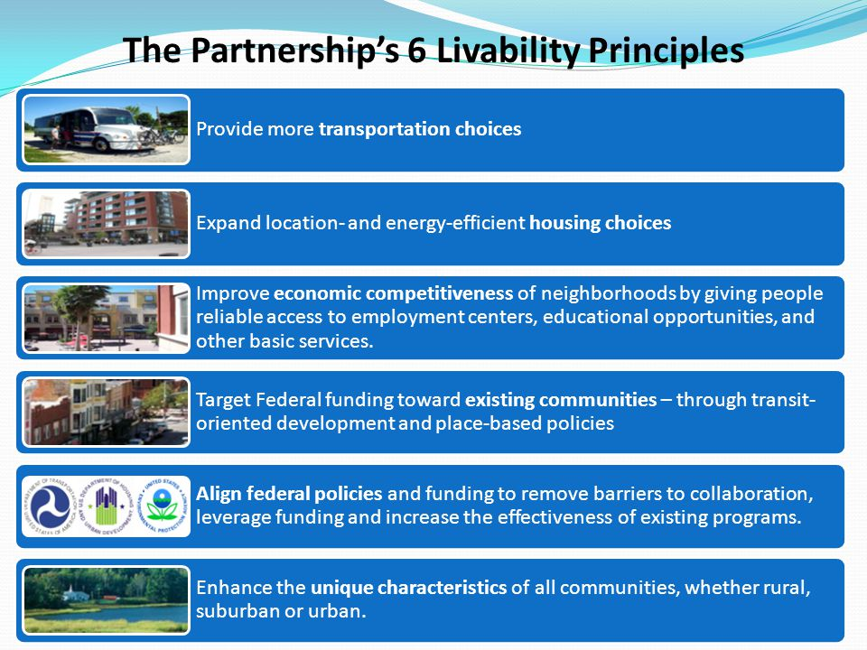 The Partnership's 6 Livability Principles Provide more transportation choices Expand location- and energy-efficient housing choices Improve economic competitiveness of neighborhoods by giving people reliable access to employment centers, educational opportunities, and other basic services.