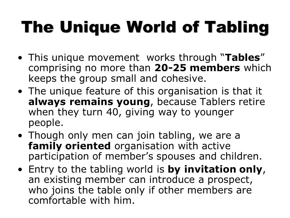 Round Table India Service Through Fellowship Welcome to the wonderful world of Tabling.