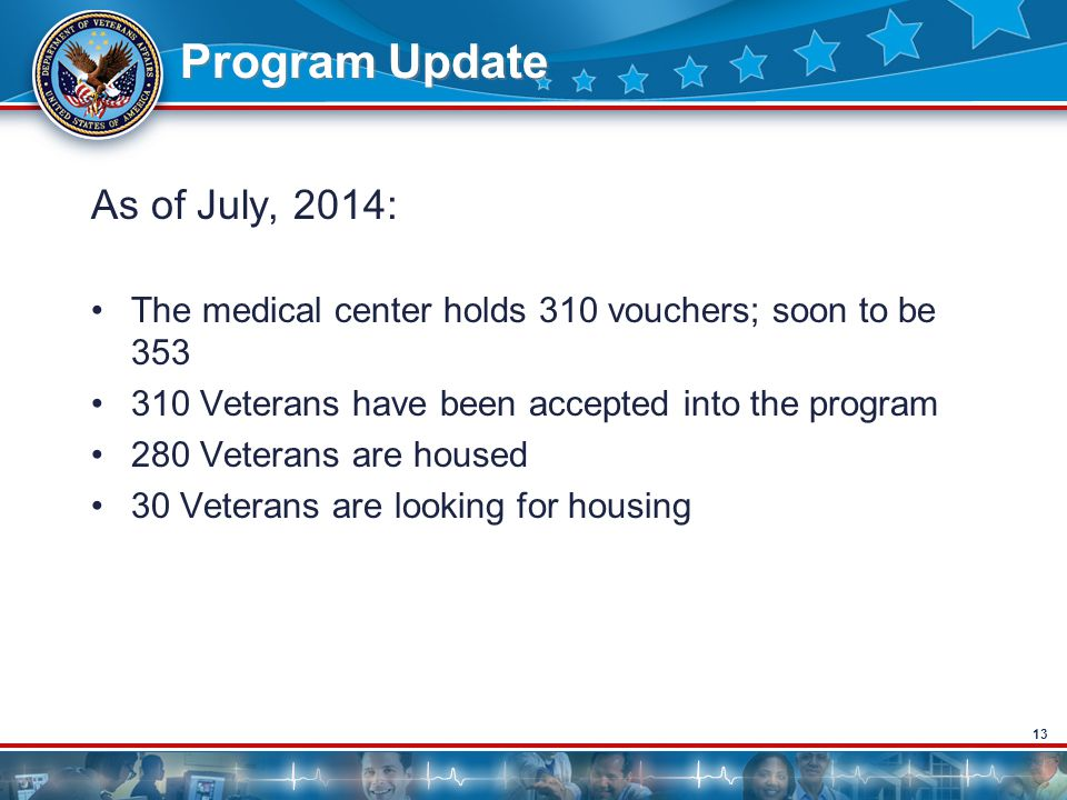 13 Program Update As of July, 2014: The medical center holds 310 vouchers; soon to be 353 310 Veterans have been accepted into the program 280 Veterans are housed 30 Veterans are looking for housing