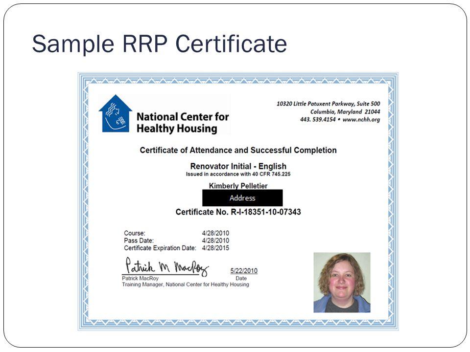 Sample RRP Certificate