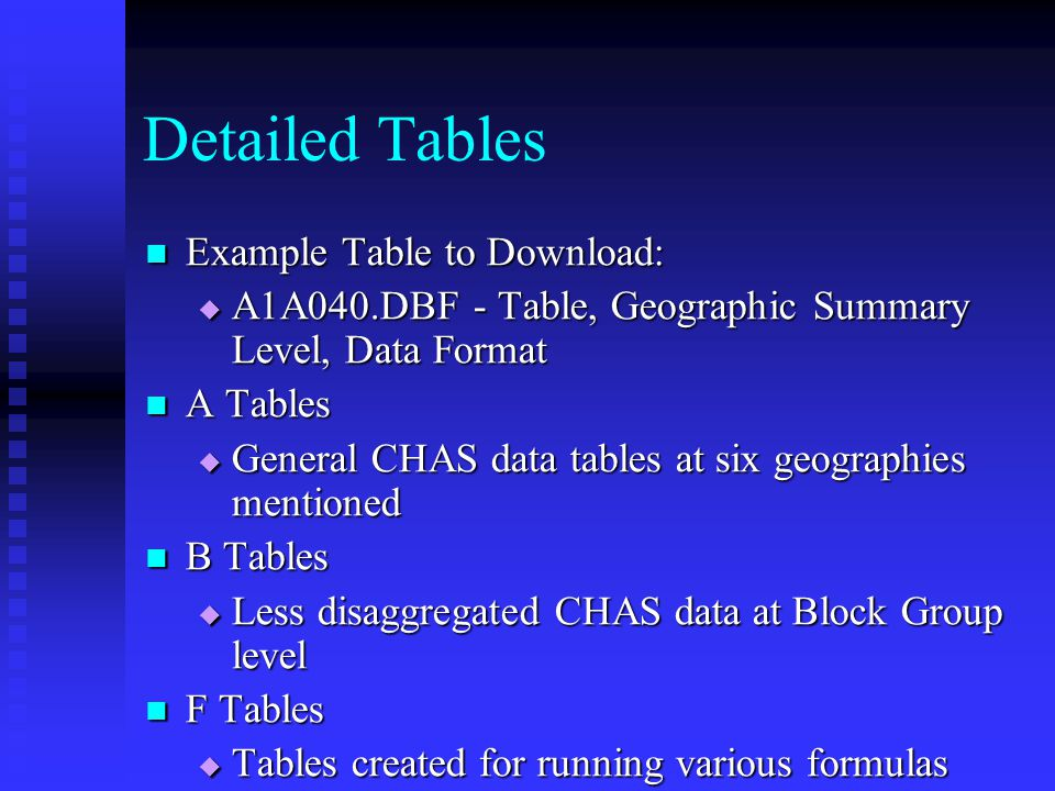 Detailed Tables Example Table to Download: Example Table to Download:  A1A040.DBF - Table, Geographic Summary Level, Data Format A Tables A Tables 