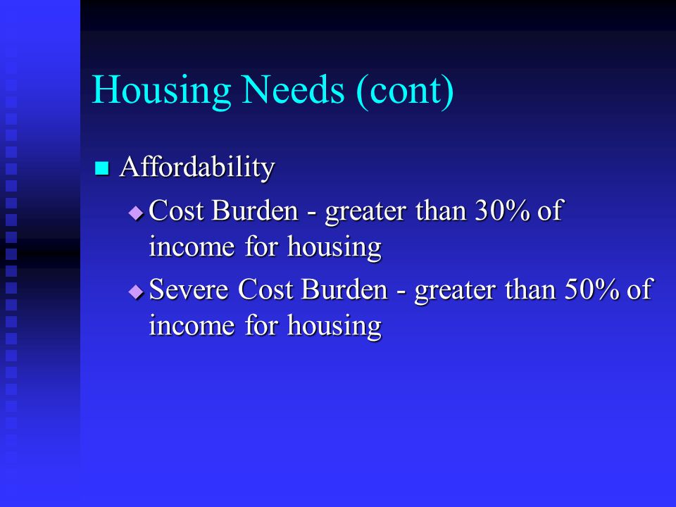Housing Needs (cont) Affordability Affordability  Cost Burden - greater than 30% of income for housing  Severe Cost Burden - greater than 50% of inc