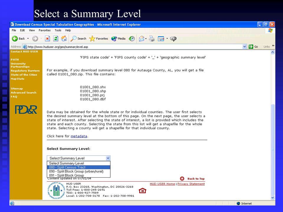 Select a Summary Level
