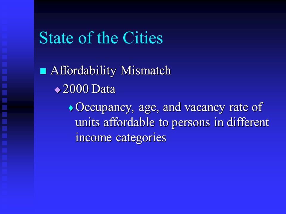 State of the Cities Affordability Mismatch Affordability Mismatch  2000 Data  Occupancy, age, and vacancy rate of units affordable to persons in dif