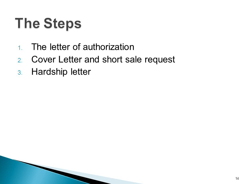 1. The letter of authorization 2. Cover Letter and short sale request 3. Hardship letter 14