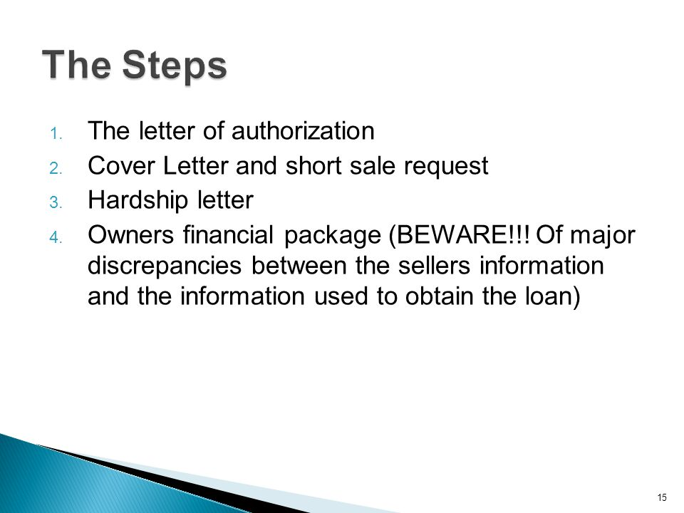 1. The letter of authorization 2. Cover Letter and short sale request 3. Hardship letter 4. Owners financial package (BEWARE!!! Of major discrepancies