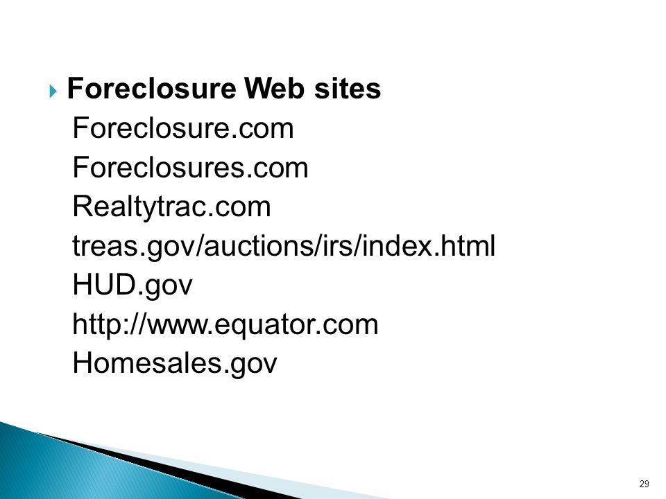 Foreclosure Web sites Foreclosure.com Foreclosures.com Realtytrac.com treas.gov/auctions/irs/index.html HUD.gov http://www.equator.com Homesales.gov 29