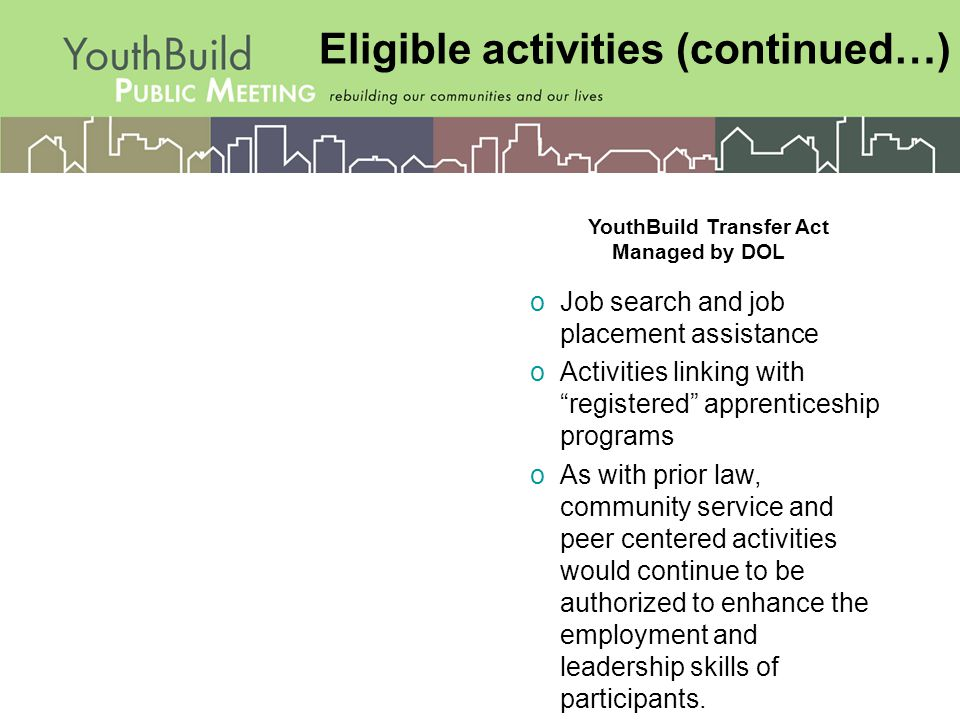 Eligible activities (continued…) oJob search and job placement assistance oActivities linking with registered apprenticeship programs oAs with prior law, community service and peer centered activities would continue to be authorized to enhance the employment and leadership skills of participants.