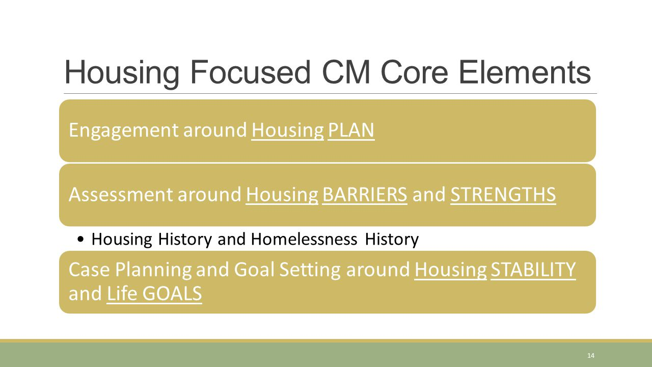Housing Focused CM Core Elements Engagement around Housing PLANAssessment around Housing BARRIERS and STRENGTHS Housing History and Homelessness History Case Planning and Goal Setting around Housing STABILITY and Life GOALS 14