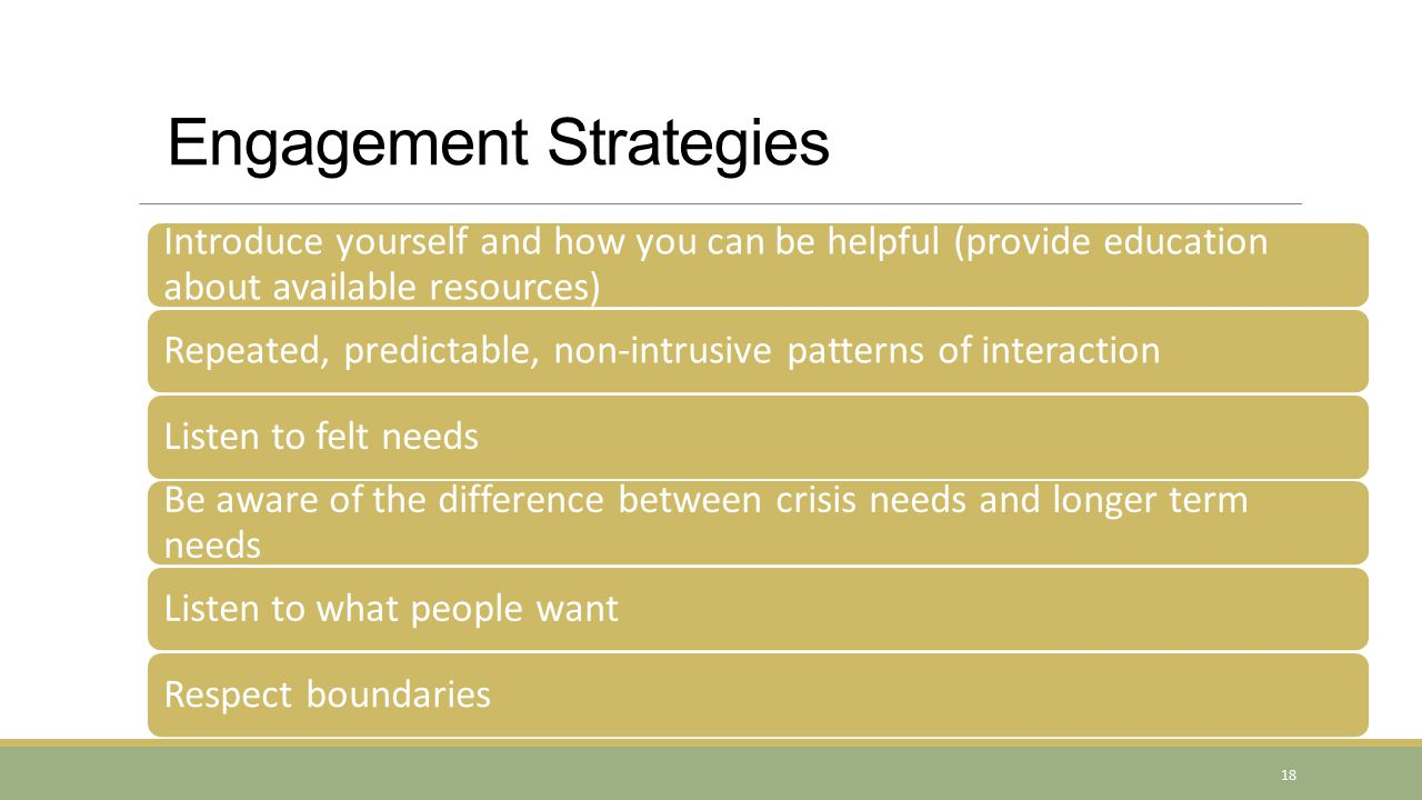 Engagement Strategies Introduce yourself and how you can be helpful (provide education about available resources) Repeated, predictable, non-intrusive patterns of interactionListen to felt needs Be aware of the difference between crisis needs and longer term needs Listen to what people wantRespect boundaries 18