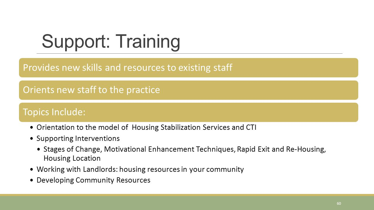 Support: Training Provides new skills and resources to existing staffOrients new staff to the practiceTopics Include: Orientation to the model of Housing Stabilization Services and CTI Supporting Interventions Stages of Change, Motivational Enhancement Techniques, Rapid Exit and Re-Housing, Housing Location Working with Landlords: housing resources in your community Developing Community Resources 60