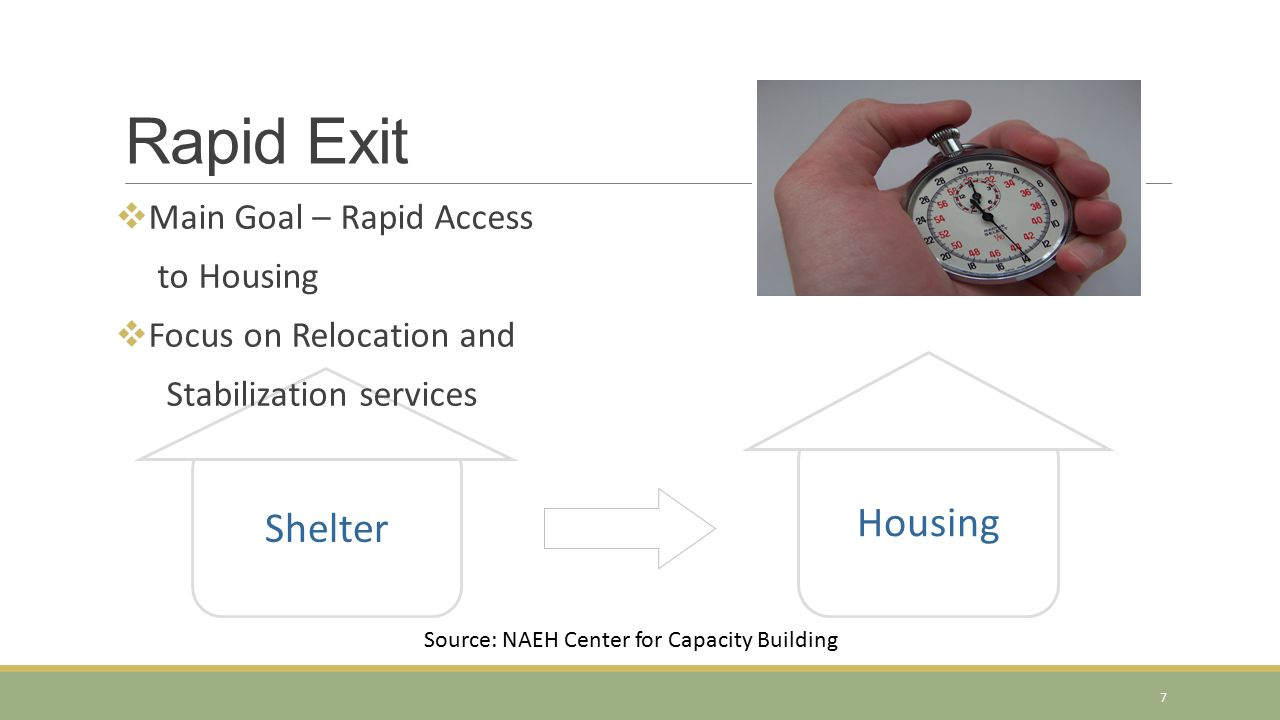 2. Exit Strategy Housing Shelter Rapid Exit  Main Goal – Rapid Access to Housing  Focus on Relocation and Stabilization services Source: NAEH Center
