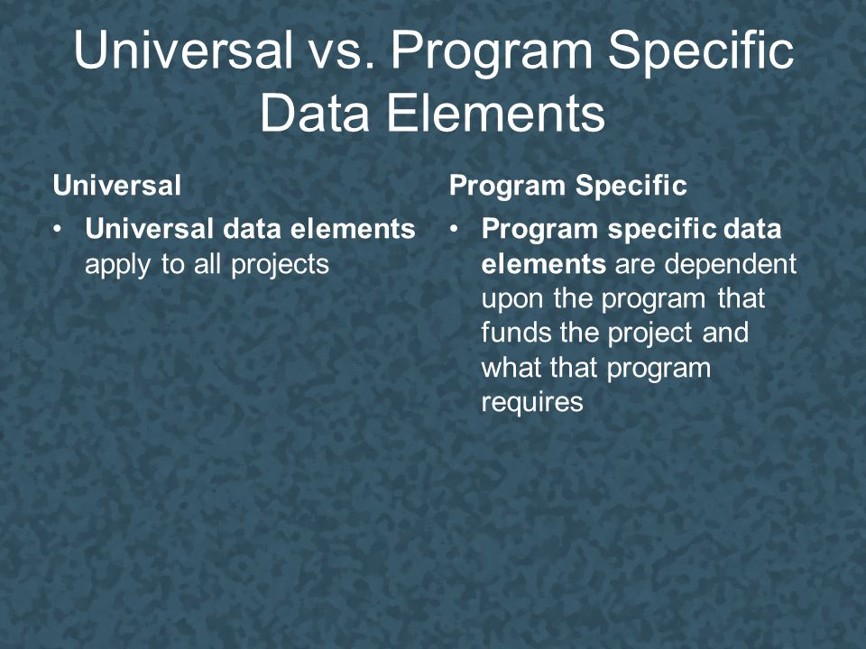 Universal vs. Program Specific Data Elements Universal Universal data elements apply to all projects Program Specific Program specific data elements a