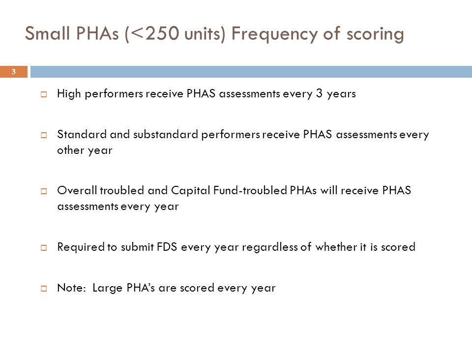 Small PHAs (<250 units) Frequency of scoring 3  High performers receive PHAS assessments every 3 years  Standard and substandard performers receive
