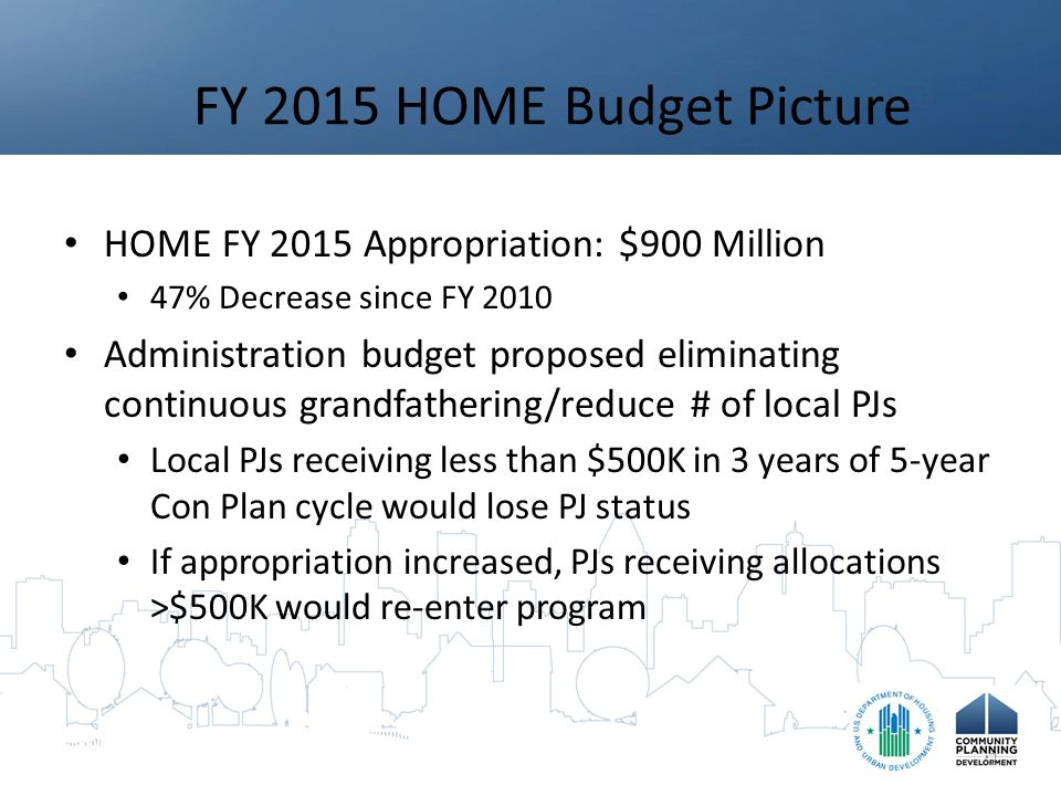 HOME Accomplishments Over history of the HOME program (through December 1, 2014): – 1,189,846 HOME units completed 465,077 rental units (39.1%) 493,842 homebuyer units (41.5%) 230,927 homeowner rehab units (19.4%) – 296,084 households received TBRA – Historical average HOME cost/unit = $23,470 – Historical average TBRA/household = $3,185 – Historical leveraging 4.17 : 1 13