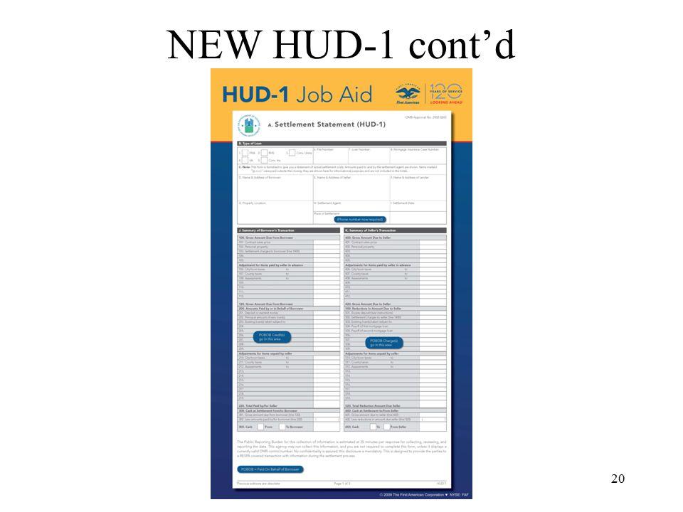 20 NEW HUD-1 cont'd