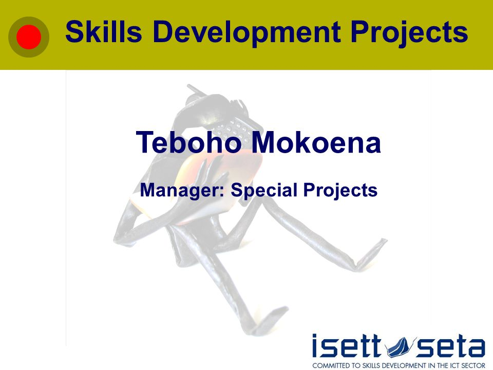 Skills Development Projects Teboho Mokoena Manager: Special Projects
