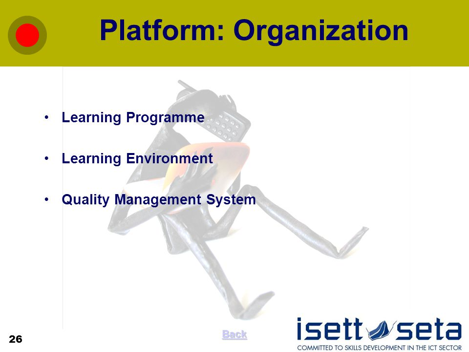 Platform: Organization Learning Programme Learning Environment Quality Management System 26 Back