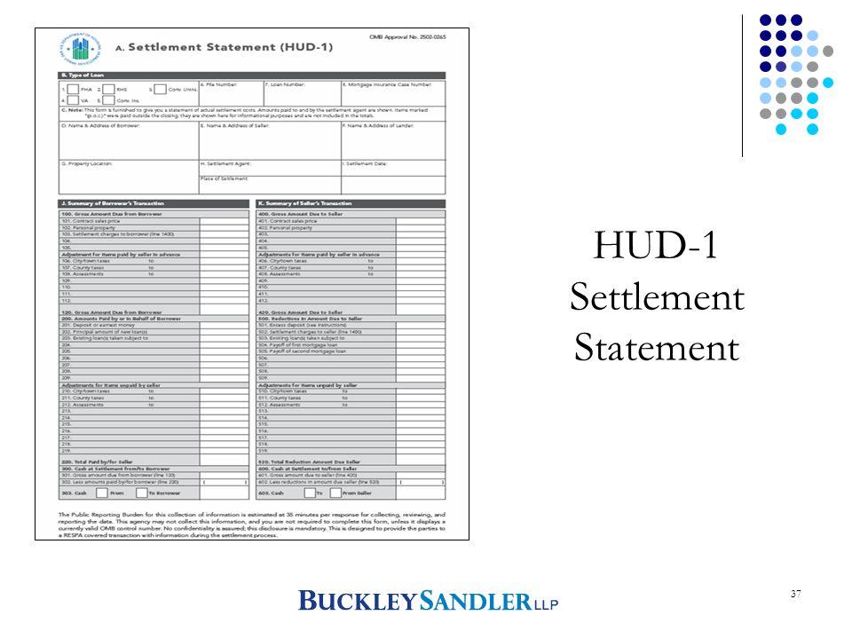 37 HUD-1 Settlement Statement