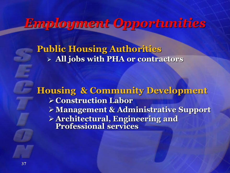 37 Employment Opportunities Public Housing Authorities  All jobs with PHA or contractors Housing & Community Development  Construction Labor  Management & Administrative Support  Architectural, Engineering and Professional services