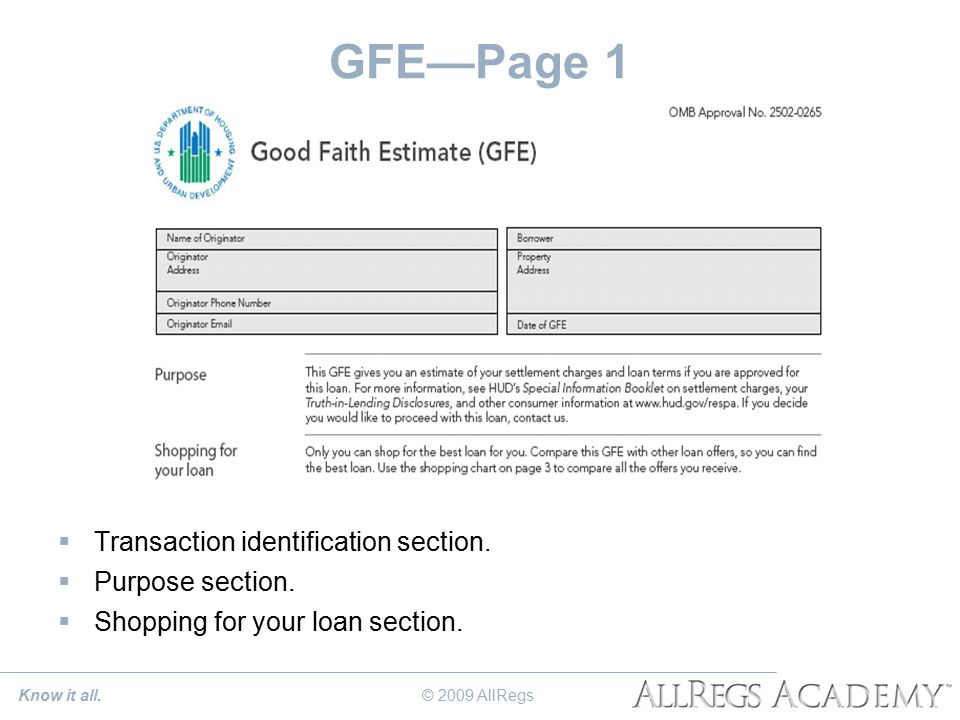 GFE—Page 1  Transaction identification section.  Purpose section.